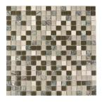 Crystal Stone Forest Walk Brown Square Mosaic 1 in x 1 in Glass and Stone Wall and Pool Tile (0.97 Sq. ft.)