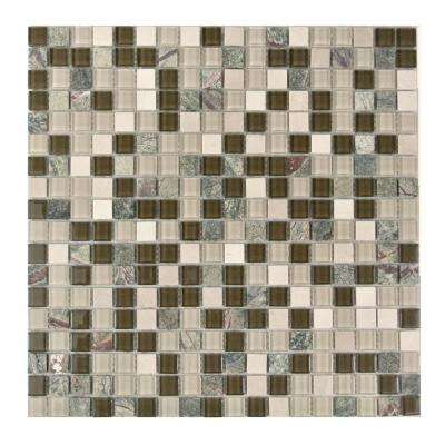 Crystal Stone Brown Mix 11.75 in. x 11.75 in. x 4 mm Glass and Stone Mosaic Tile
