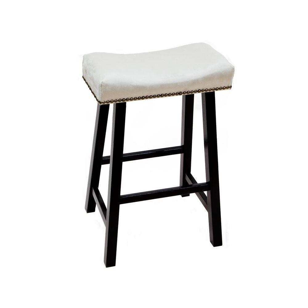 Carolina Cottage 24 in. Black Valencia Bar Stool with Chamois Upholstered Seat-DISCONTINUED