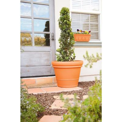 22 in. Heavy Rimmed Extra Large Terra Cotta Clay Pot