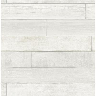 56.4 sq. ft. Wallace White Timber Wallpaper