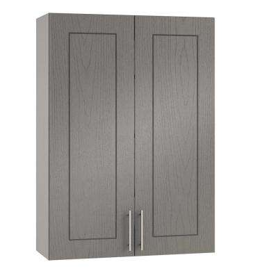 Assembled 36x30x12 in. Palm Beach Open Back Outdoor Kitchen Wall Cabinet with 2 Doors in Rustic Gray