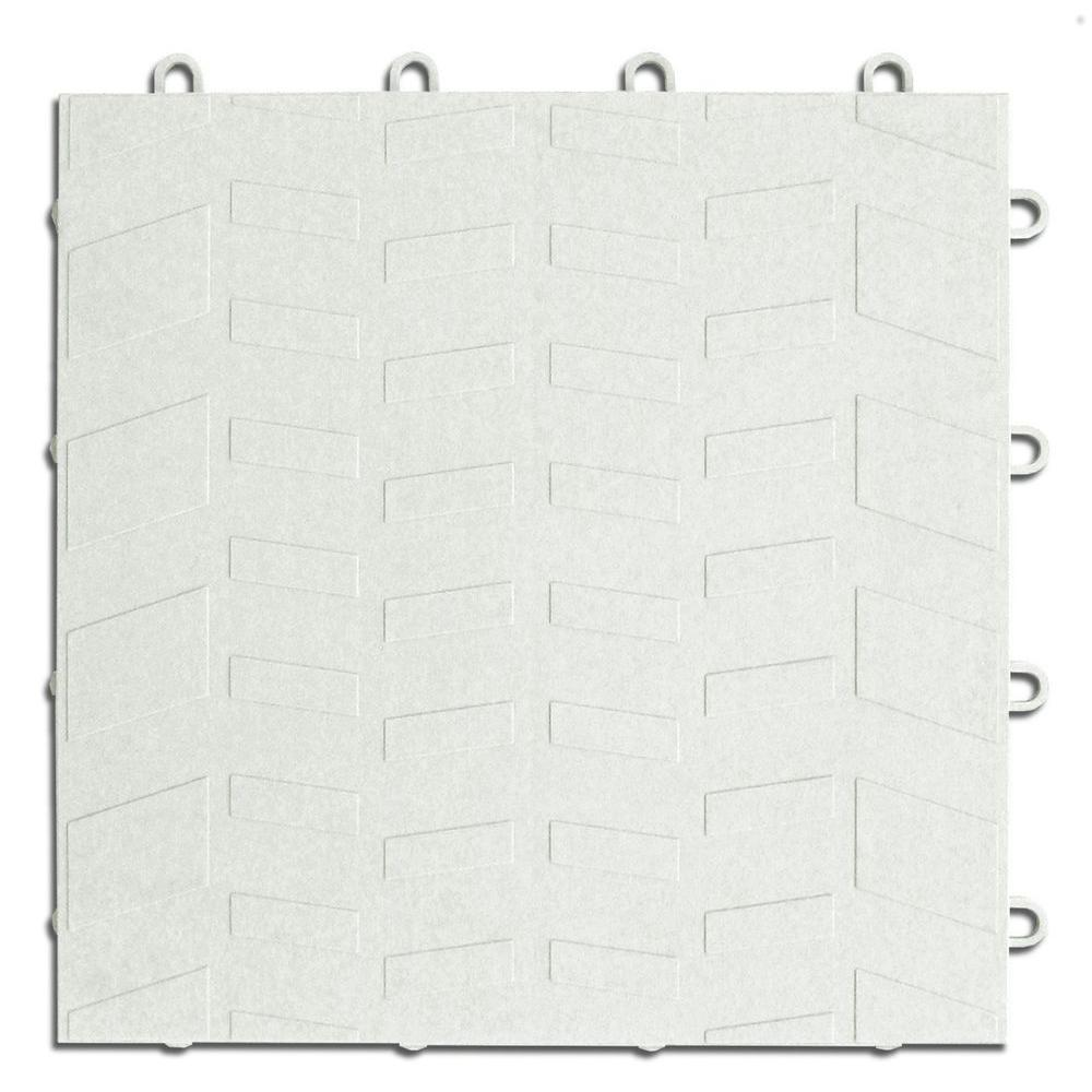 MotorMat Tread White 12 in. x 12 in. Garage Tile (40-Case)