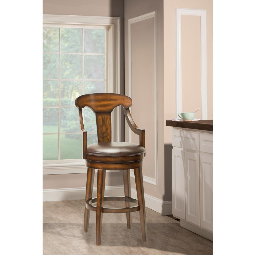 Hillsdale Furniture Upton 26.5 in. Rustic Oak Cushioned Bar Stool