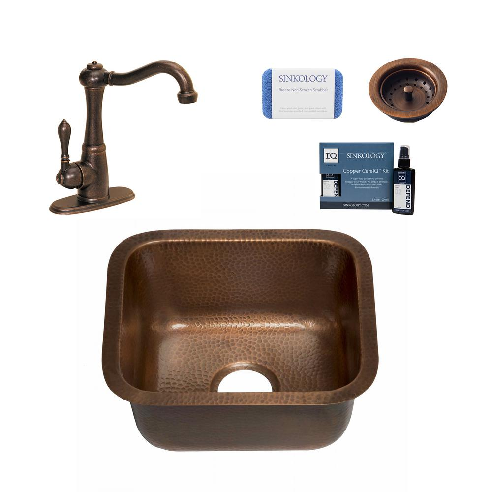 SINKOLOGY Sisley Pro All-in-One Undermount 18.5 in. Single Bowl Copper Bar Prep Kitchen Sink with Pfister Faucet and Drain