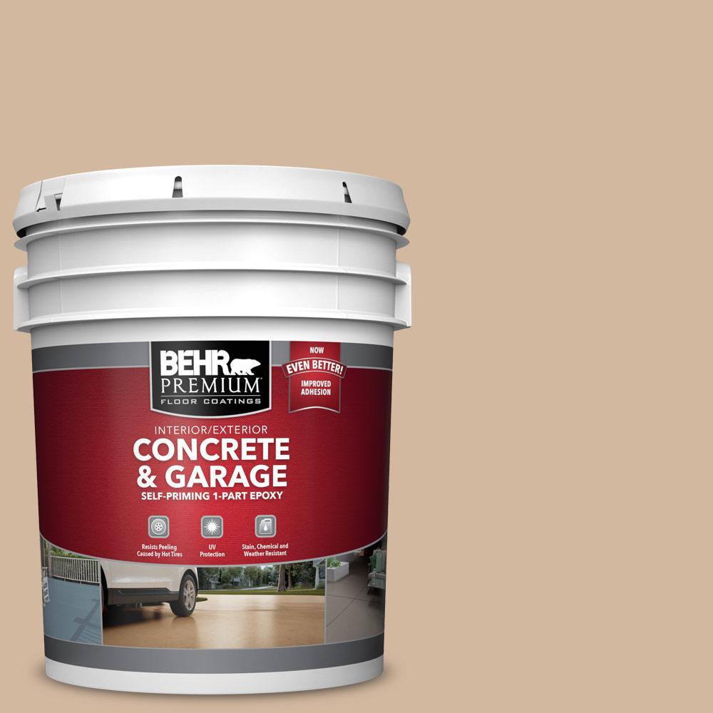 5 gal. #S280-3 Practical Tan 1-Part Epoxy Satin Interior/Exterior Concrete and Garage Floor Paint