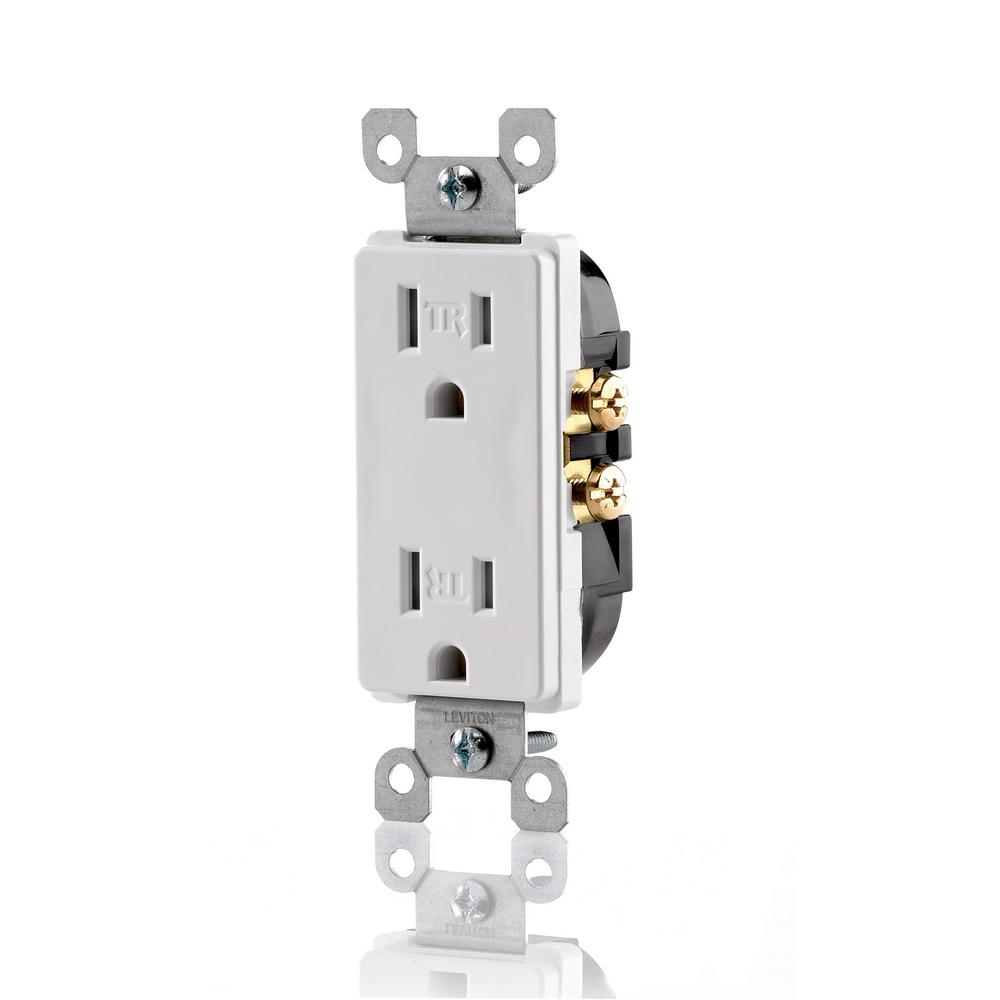 Leviton 20 Amp Industrial Grade Weather/Tamper Resistant Self Grounding Duplex Outlet, Yellow