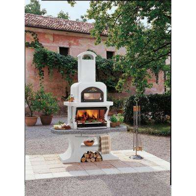 Palazzetti Capri 2 Charcoal or Wood Fire Outdoor Pedestal Grill in Gray Marmotech