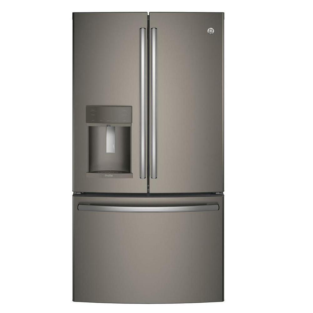27 Cu Ft French Door Refrigerator: GE Profile 35.75 In. W 27.8 Cu. Ft. French Door Refrigerator With Hands Free Autofill In Slate