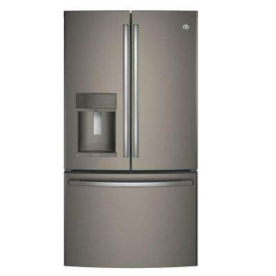 36 in. W 27.8 cu. ft. French Door Refrigerator with Hands Free Autofill in Slate, ENERGY STAR