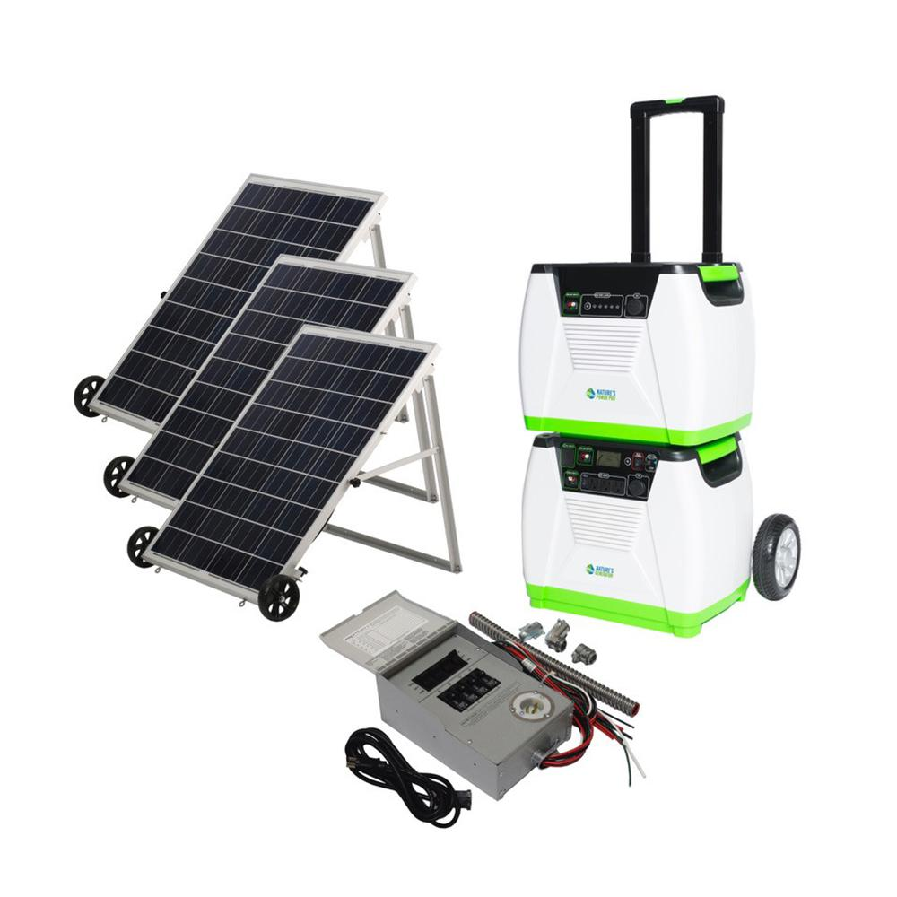NATURE'S GENERATOR 1800-Watt Solar Powered Portable Generator with Electric Start and Supplemental Power Pod and Power Transfer Kit Our NATURE'S GENERATOR Platinum-PE System brings together our NATURE'S GENERATOR Platinum System and the Power Transfer Kit. The NATURE'S GENERATOR Platinum System is a system that allows you to generate and store extended power. With the addition of the Power Transfer Kit you'll be able to link the existing power circuits in your indoor breaker panel to your NATURE'S GENERATOR Platinum System. You'll have the ability to continue providing power to your most needed items without having to disconnect them from their current outlets. The NATURE'S GENERATOR Platinum System provides a combined 1,920-Watt hours of run time and with the included three 100-Watt Nature's Power Panels you can continually use and recharge your system.