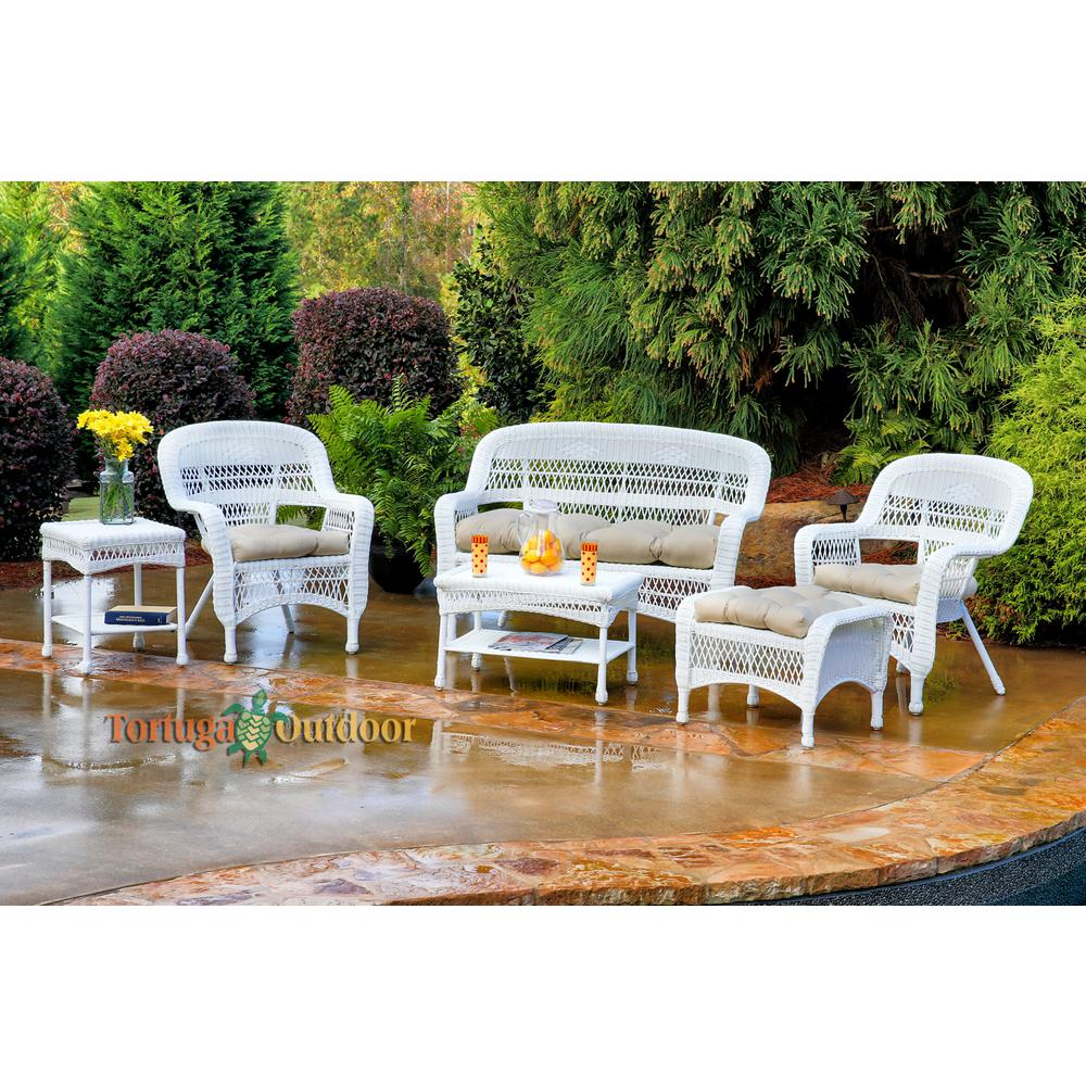 Admirable Tortuga Outdoor Portside White 6 Piece Wicker Patio Seating Set With Sand Cushions Interior Design Ideas Tzicisoteloinfo
