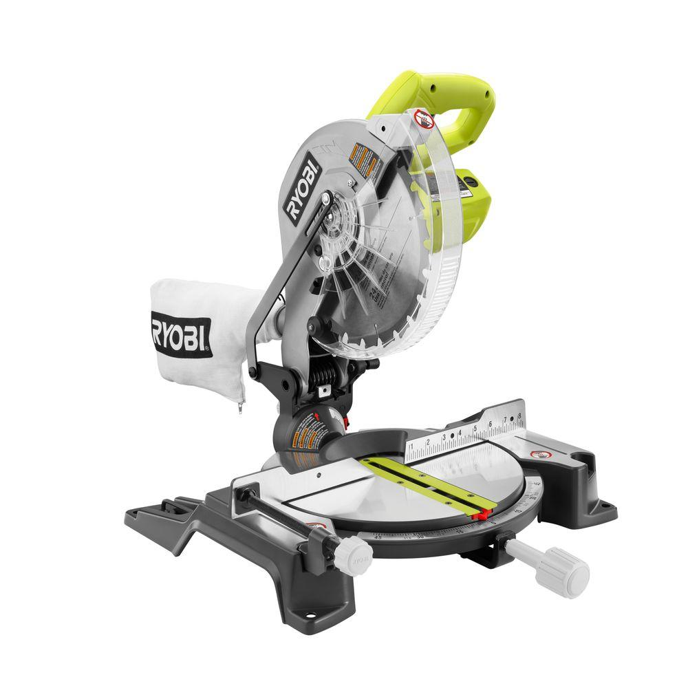 Ryobi 14 amp 10 in compound miter saw ts1345l the home depot compound miter saw greentooth Choice Image