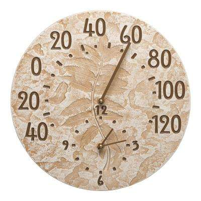 Weathered Limestone Fossil Sumac Clock and Thermometer