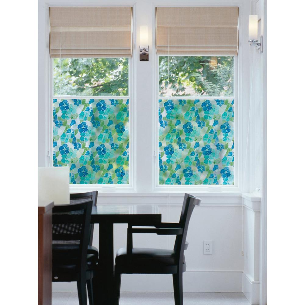 DC Fix 157.48 in. x 17.7 in. Blue and Green Stained Glass Window Film (Set of 2) This blue and green floral pattern peel and stick stained glass window film is lovely and beneficial. Pretty blue and green petals and leaves overlap, ready to stream colored light through your windows and doors, while reducing glare and UV rays and adding an element of privacy. This peel and stick vinyl film is perfect on shower doors, or cabinets, too, and can be cut to any size. It will never damage your glass, truly providing affordable sophisticated functionality. Comes on two 17.7 in. x 78.74 in. rolls for a total of 2 pieces.
