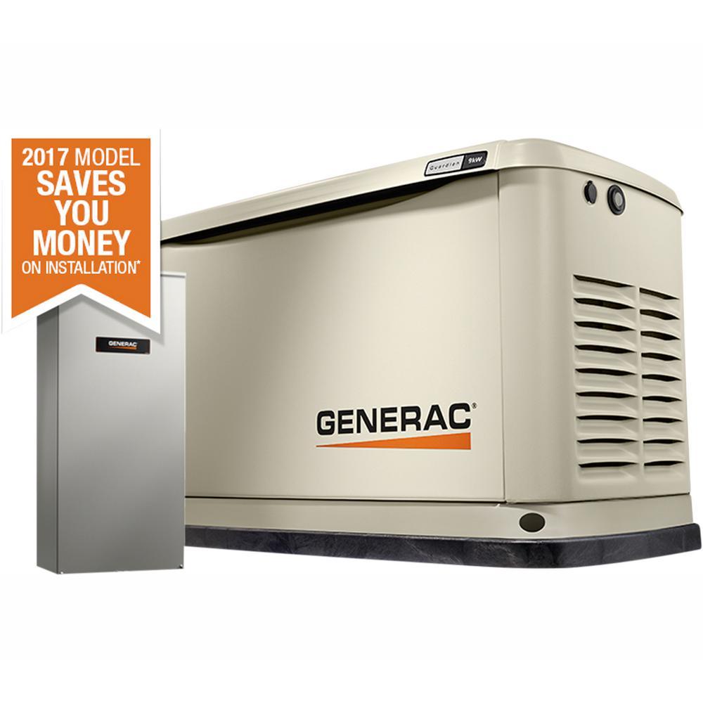 9,000-Watt (LP)/8,000-Watt (NG) Air Cooled Standby Generator with Wi-Fi and  100 Amp NEMA3 Auto Transfer Switch