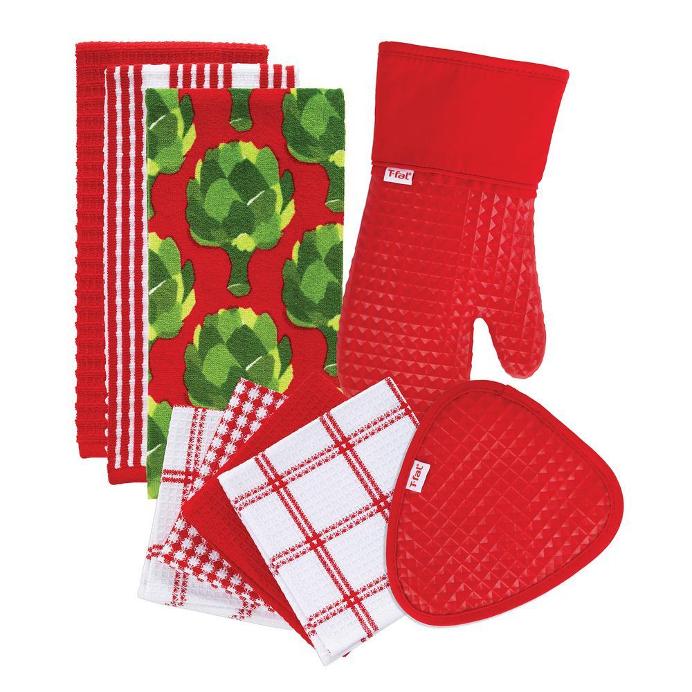 T-Fal Red Cotton Kitchen Textile Set (Set of 9)