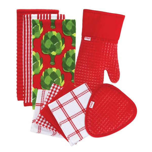 T-Fal Red Cotton Kitchen Textile Set (Set of 9)