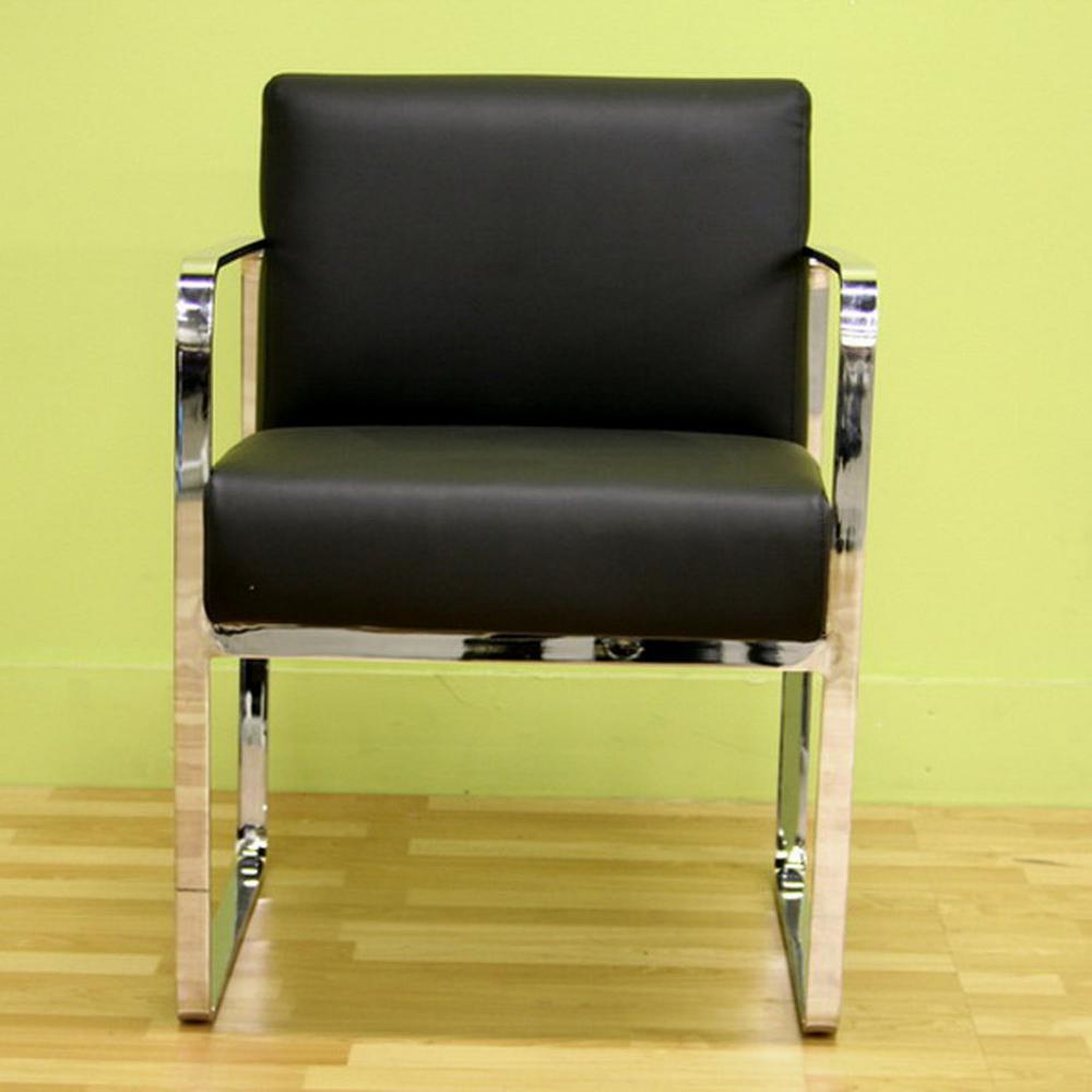 Meg Black Leather Arm Chair