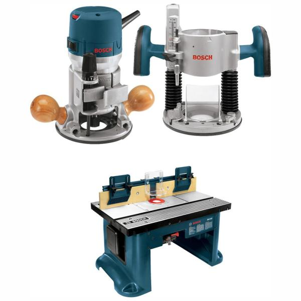 Bosch 12 Amp 2-1/4 HP Variable Speed Plunge and Fixed Base Corded Router Kit with Bonus 15 Amp Corded Benchtop Router Table