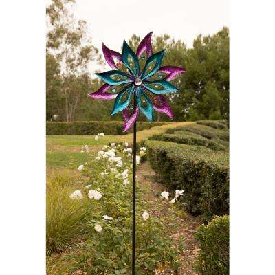 64 in. Tall Dual Floral Purple/Aqua Kinetic Wind Spinner Garden Stake