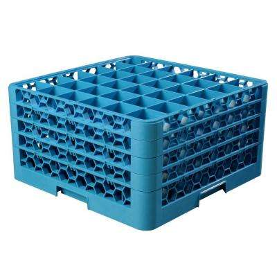 19.75x19.75 in. 36-Compartment 4 Extenders Glass Rack (for Glass 2.69 in. Diameter, 9.50 in. H) in Blue (Case of 2)