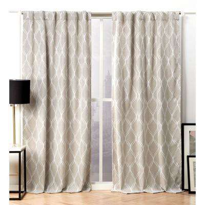 Circuit Linen Blackout Hidden Tab Top Curtain Panel - 52 in. W x 96 in. L (2-Panel)