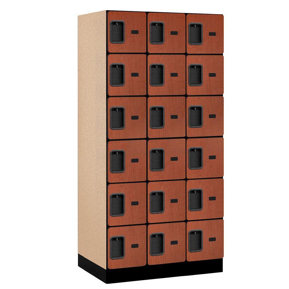 36000 Series 36 in. W x 76 in. H x 21 in. D 6-Tier Box Style Designer Wood Locker in Cherry
