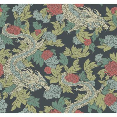 Ming Dragon Wallpaper - Navy Navy Paper Strippable Roll (Covers 60.75 sq. ft.)