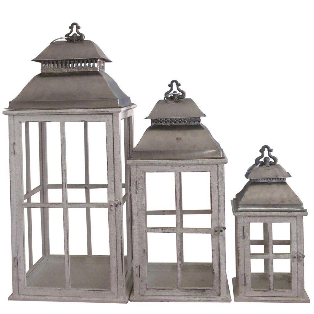null Antiqued Wooden Battery-Powered Candle Lantern (Set of 3) - DISCONTINUED