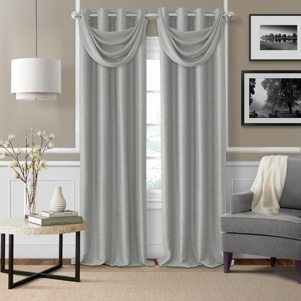 Brooke Gray Polyester Single Blackout Window Curtain Panel - 52 in.