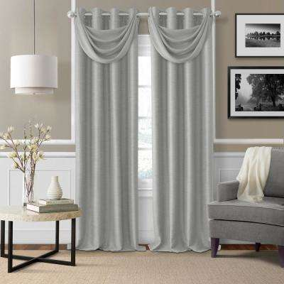 Brooke 18 in. W x 23 in. L Polyester Single Waterfall Swag Blackout Valance in Gray