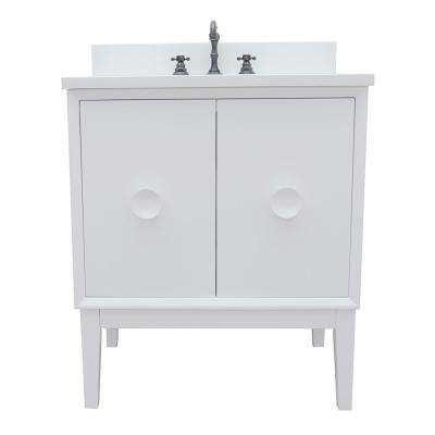 Stora 31 in. W x 22 in. D Bath Vanity in White with Quartz Vanity Top in White with White Oval Basin