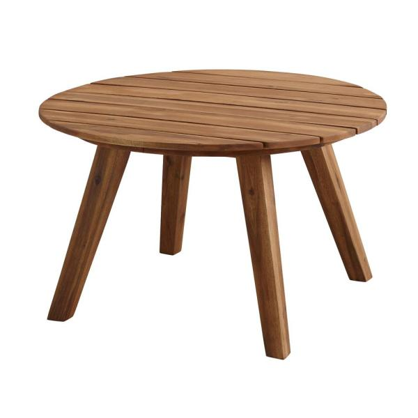 Welwick Designs 30 in. Brown Round Acacia Wood Outdoor ...