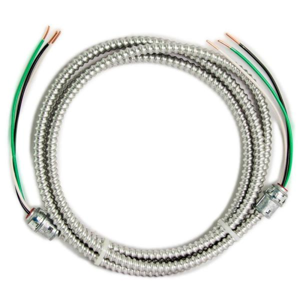 12/2 x 10 ft. Solid CU MC (Metal Clad) Armorlite Modular Assembly Quick Cable Whip