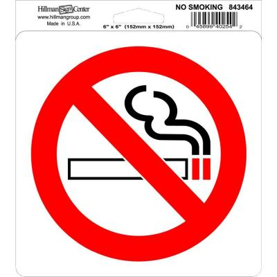 6 in. x 6 in. Self Adhesive No Smoking Sign