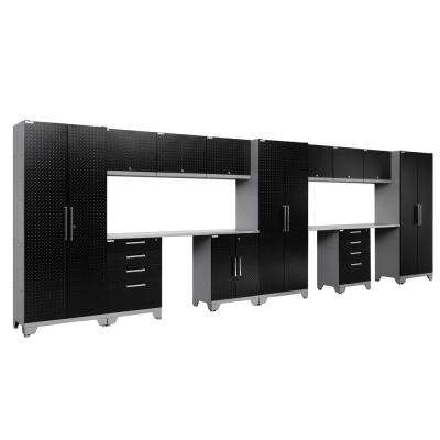 Performance Diamond Plate 2.0 72 in. H x 234 in. W x 18 in. D Garage Cabinet Set in Black (14-Piece)