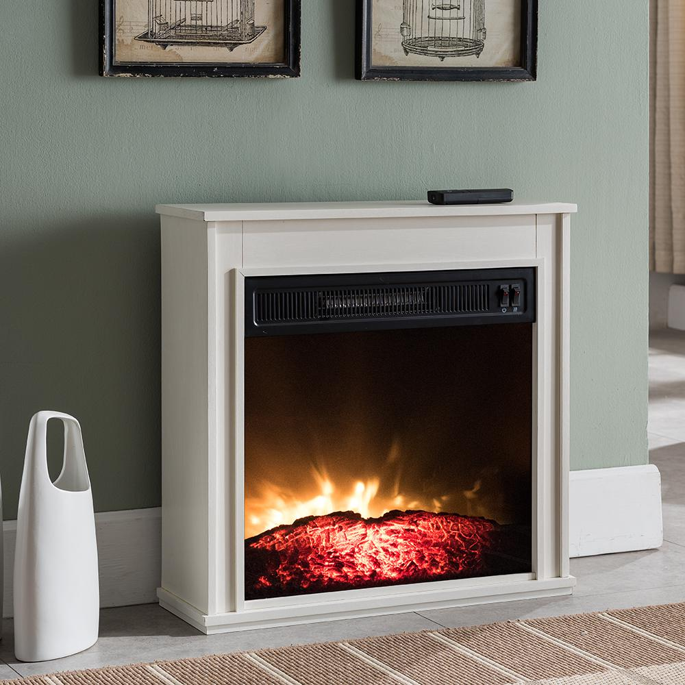 Hampton Bay 23 In Compact Electric Fireplace In White Sp5968 The