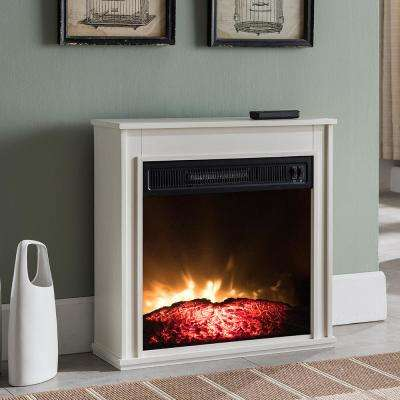 23 in. Compact Electric Fireplace in White