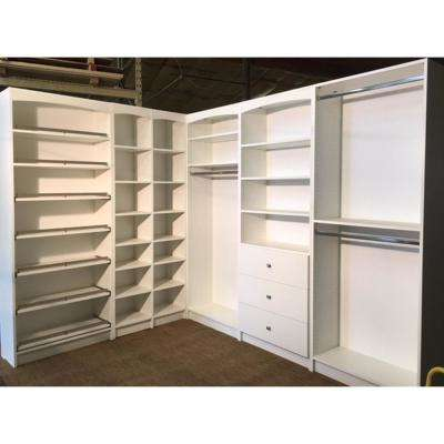 H Gray WoodFreestanding Closet System Several Adjustable Shelves