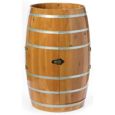 Brown Wooden Wine Barrel Shaped Wine Holder, Bar Storage Lockable Storage Cabinet