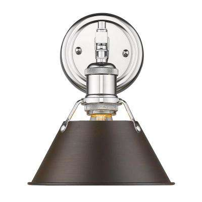 Orwell 1-Light Chrome with Rubbed Bronze Shade Bath Vanity