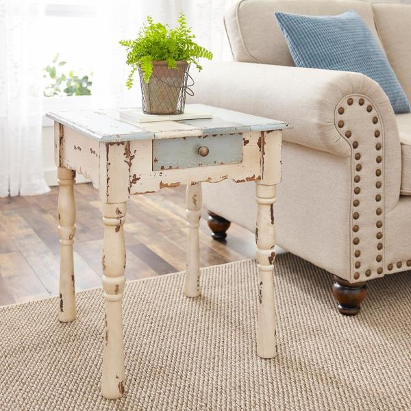 Southern Enterprises Caitlyn Antique White with Blue-Gray Farmhouse End Table