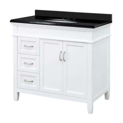 Ashburn 37 in. W x 22 in. D Vanity in White with Granite Vanity Top in Black with White Basin