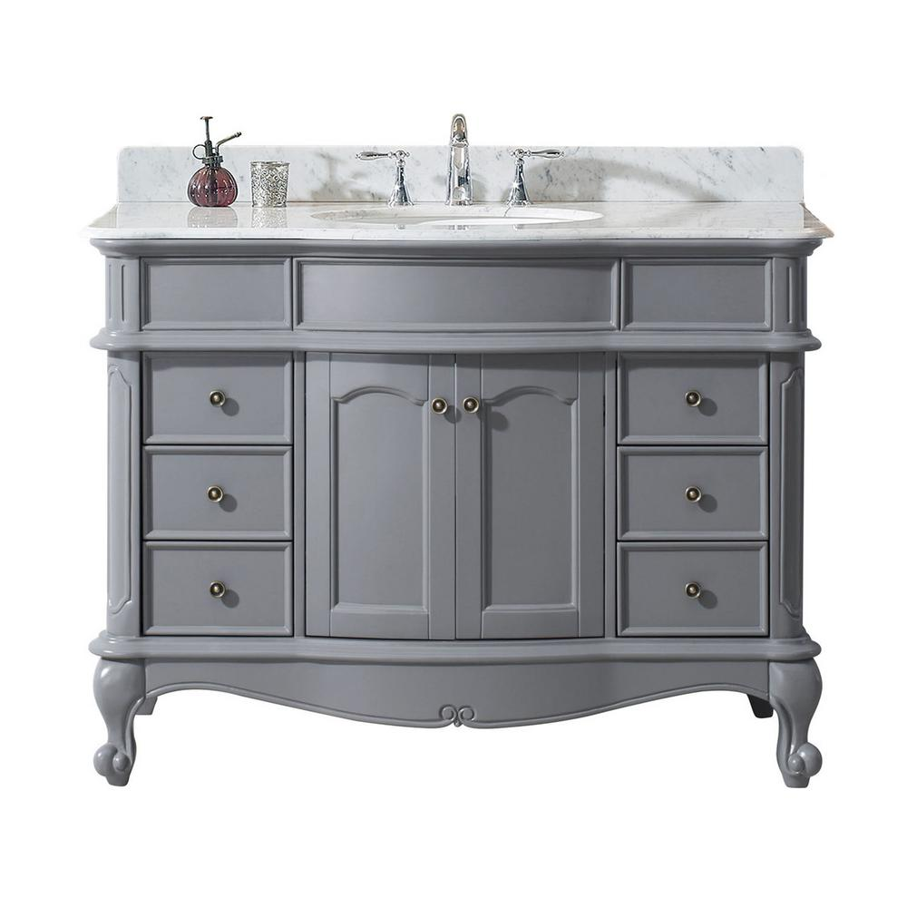 Virtu USA Norhaven 49 in. W Bath Vanity in Gray with Marble Vanity Top in White with Round Basin