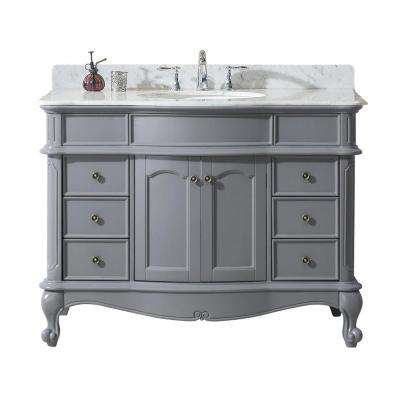 Norhaven 48 in. W x 23.6 in. D Vanity in Grey with Marble Vanity Top in White with White Basin