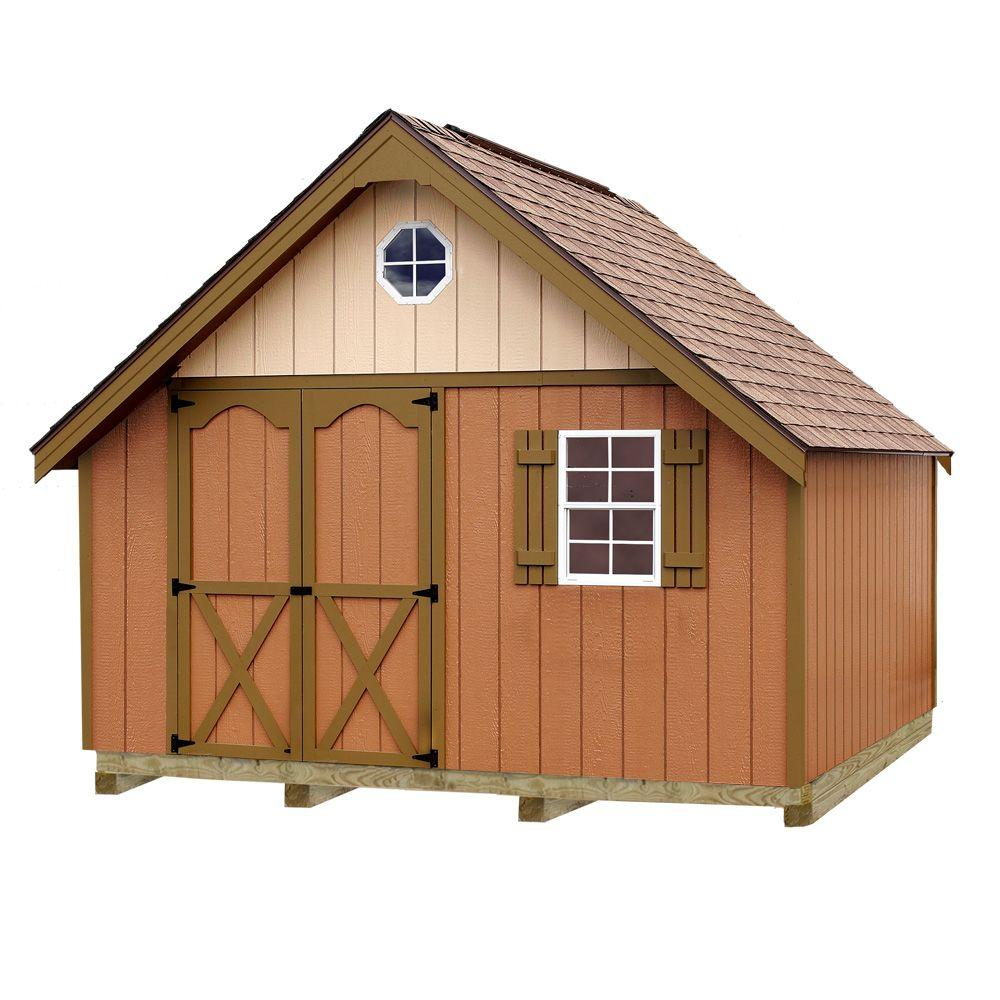 Best Barns Riviera 12 ft. x 16 ft. Wood Storage Shed Kit with Floor Including 4 x 4 Runners