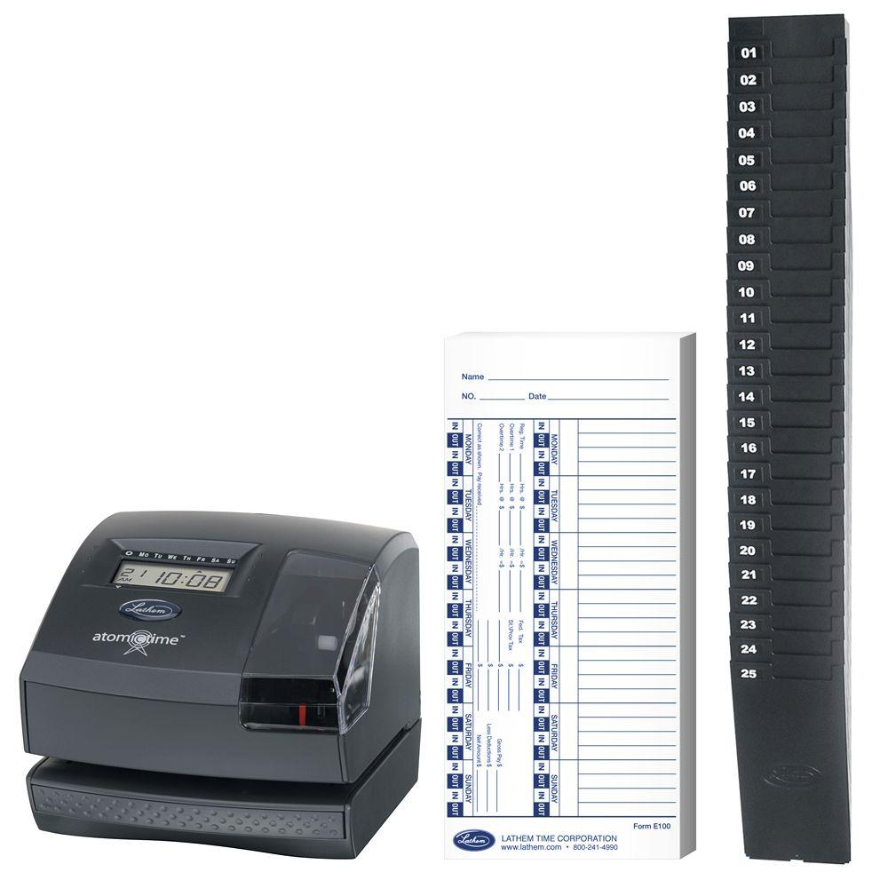Lathem Atomic Time Recorder & Document Stamp with 1- 25-9EX Expanding Time Card Rack 25 Pockets & Box of 100 Weekly Time Cards