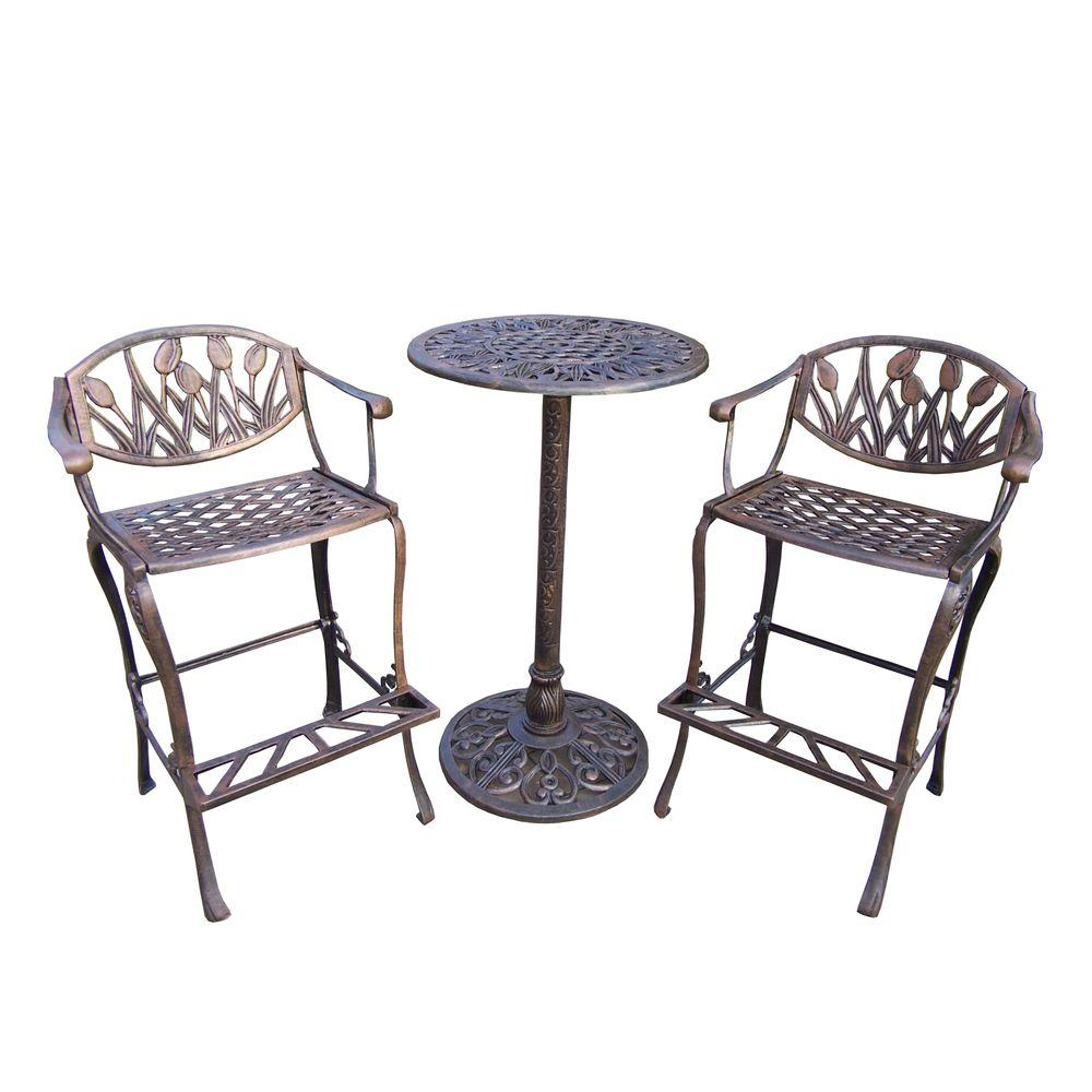 Tulip Cast Aluminum 3 Piece Patio Bar Height Dining Set Hd1008 Ab The Home Depot