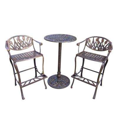 Tulip Cast Aluminum 3 Piece Patio Bar Height Dining Set